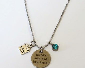 There's no Place Like Home Necklace Crystal Birthstone - House Charm - Family, Home Jewelry - Personalized Jewelry