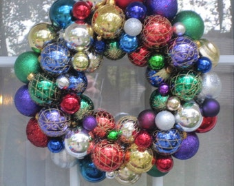 Jewel Toned Ornament Wreath