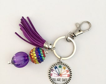 You are Safe Key Chain, Safety Pin Key Chain, Rainbow Key Chain, Pride Key Chain, Solidarity Keey Chain