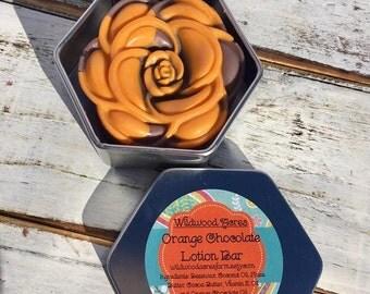 Orange Chocolate Lotion Bar: Handmade Lotion Bar, Beeswax, Vitamin E, All Natural, Lotion Flower, Gift