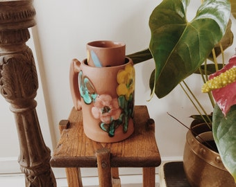 handmade hand painted mugs with flowers/cups/pottery/ceramic/stoneware/mexican art/mexican mug/terra-cotta/planters/succulent planter