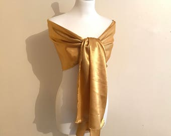 Stole gold satin 50/200 cm wedding/party/christening/cocktail/Christmas/holiday season