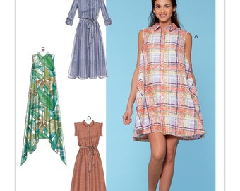 McCall's Pattern M7565 Misses' Shirtdresses with Sleeve Options, and Belt