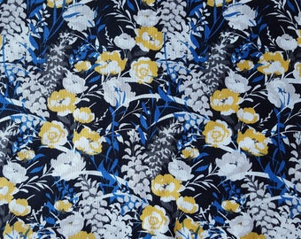 Black Wildflower Packed Cotton Fabric Sold by the Yard