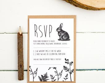 Wedding RSVP Card - Enchanted Forest - Wedding Stationery - Wedding Reply Card - Printed or DIY Printable Download - Personalised - Kraft
