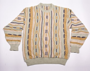 Vintage 90s Coogi Style Knit Jumper Natural Colours