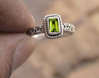 Cushion Cut Peridot Ring, Mothers Day Gift Ring, August Birthstone Peridot Ring,  925 Sterling Silver Ring, Bezel Ring, Handmade Gift Ring