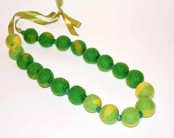 Green Yellow Felted Necklace Wool Handmade
