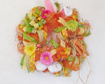 Easter Wreath-Bunny Wreath-Spring Wreath-Orange Easter Bunny Wreath-Rabbit Wreath-Spring Wreath Front Door-Deco Mesh Wreath-Ready to Ship