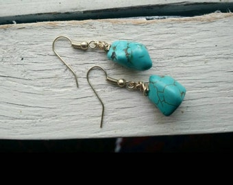 Turquoise Wrapped Wire Drop Earrings *** Free US Shipping ***