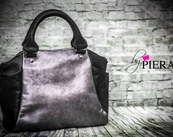 leather, metallic, purple, satchel, handbag, black, silver, purple, stencil