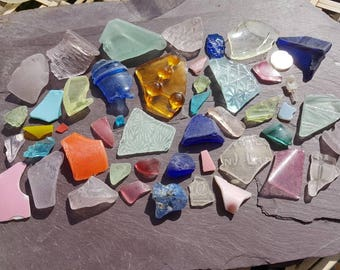 EMBOSSED RAINBOW COLLECTION Seaglass ~ Thames Mudlarking ~ Sea Glass ~ Red Turquoise Pink Orange Blue Lavender Yellow Uv Green ~ English