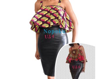 African Print Blouse, Ruffle Blouse, Ankara Top, Party Blouse, Dashiki Top, Tops and Blouses, Pink crop top, Gift Idea, African shop