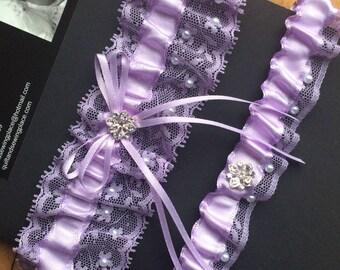 Lavender Bridal Garter Set