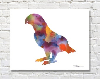 African Grey Art Print - Parrot Art Print - Abstract Watercolor Painting - Wall Decor