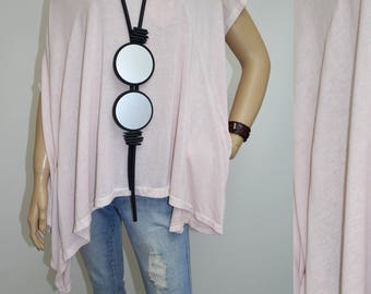 44 46 48 50 / 16 18 20 22 Italian Lagenlook T-Shirt Tunic Poncho Pocket Plus Size Quirky