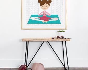 SVG, DXF, Pdf, Studio3 Cut file, CF188 Yoga Girl onMat, cut file, scrapbook file, Yoga cut file