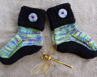 Hand knitted Ladies Boot Slippers (Medium) (7-8 AU)