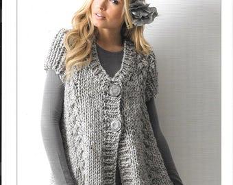 James C Brett knitting pattern for ladies 71cm - 117cm (28 ins - 46 ins) Mega Chunky - original pattern