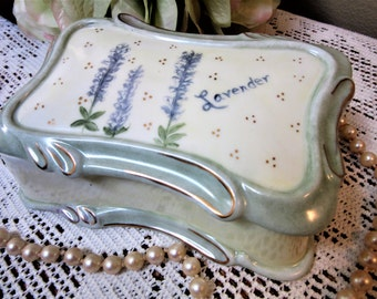 Box Ring Jewelry Trinkets Storage Lavender Porcelain Ceramic Hand Painted Home Decor
