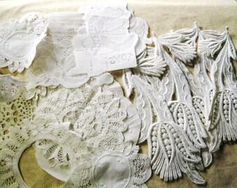 16pc Lot Ivory Lace Applique Off White Victorian Doily Medallions Destash 1252