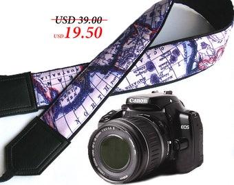 World Map Camera Strap. Map. Australia. North America. Camera accessories. Photographer gift by InTePro