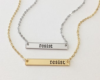 Resist Necklace, Women's March Necklace, Political Necklace, Anti Trump Necklace, Women's Rights, Civil Rights, Feminism Feminist Jewelry