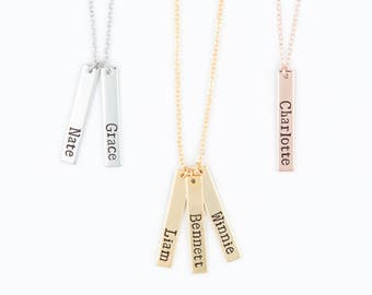 Mommy Necklace - Baby Name Vertical Bar Necklace - Personalized Bar Necklace - Gold, Rose Gold, Silver Bar Necklace, Mom Grandma Necklace