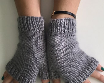 Hand knit grey texting mitts, wool blend fingerless mitts,  grey fingerless gloves, hand knit gift.