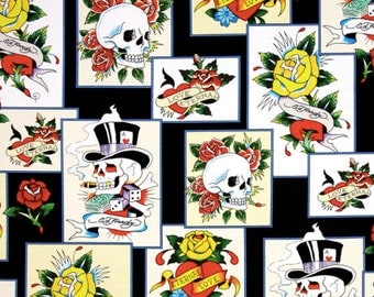 Ed Hardy Love Is True Patches Black, Designed by Ed Hardy and licensed to Quilting Treasures