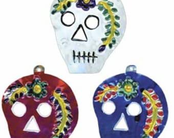 Tin Ornament of Day of the Dead Sugar Skull