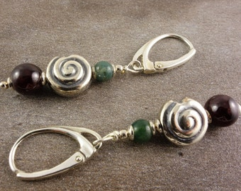 Snail earrings with Garnet and agate, 925 Silver, fashion pendant specification:, Garnet, MOSS agate, green, red, earrings with screw, hanging earrings, earrings