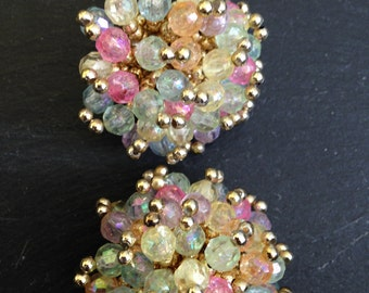 Large Plastic Pastel Beaded Cluster Clip Earrings