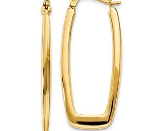 14K Yellow Gold Modern Contemporary Rectangle Hoop Earrings 33x15x2.25mm CKLTF148