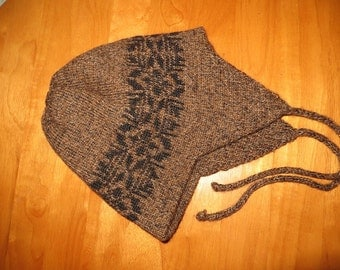 Brown Tweed Ear flap Hat
