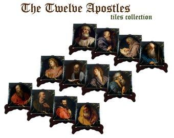 Twelve Apostles decorative tiles collection - Twelve Disciples - 12 Apostles - religious icons - a special catholic gift idea made in Italy