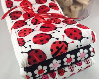 Burp cloths, ladybug, flower, black and red, spring time, baby girl