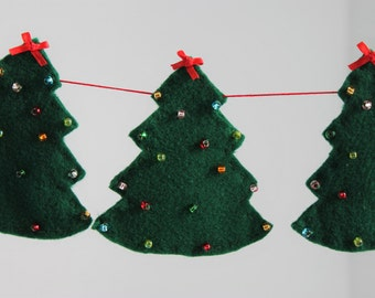 Christmas Tree Garland, Felt Christmas Tree Banner, Holiday Banner, Christmas Decoration, Holiday Garland