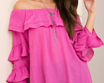 Hot Pink Lily Top - FREE SHIPPING