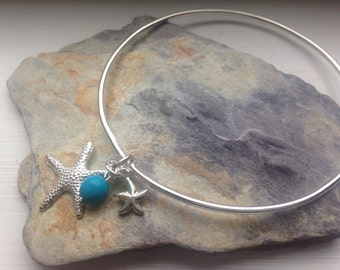 Silver plated starfish snd turquoise bangle