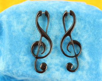 Treble Clef Earring Fake Plug Hangers (Pair)  Music Note Hand Carved - Black Treble Clef Horn Fake Stretch Plugs Earring -  B036
