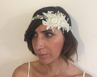 Lace Bridal Headpiece - Bridal Hair Piece - Boho Bridal Headpiece - Wedding Hairpiece - Beaded Hairpiece - Bridal Jewellery