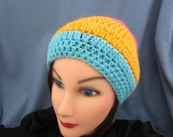 Colorful Tricolor Large Color Block Crocheted Soft Slouchy Beanie Hat