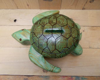 Turtle Bank Made of Wood