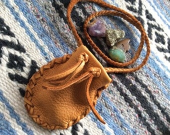 Medicine Bag, Leather Medicine Pouch on Braid Necklace, Drawstring  Deer Hide Pouch,Handmade in Canada