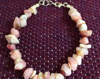 SALE Pink Opal and Garnet beaded bracelet