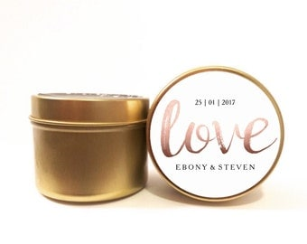 Personalised wedding favours / bomboniere. Soy candle tins. Rose gold love design by Mahina