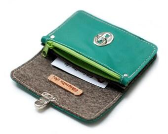 Wallet leather & felt, green
