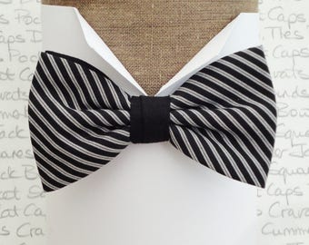 Black and silver grey stripe pre tied bow tie, Bow ties for men
