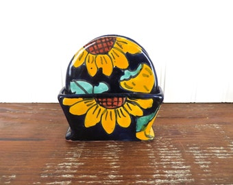 Vintage Talevera Sunflower Coaster Set With Holder, Set Of 6 Mexican Folk Art Pottery Drink Coasters